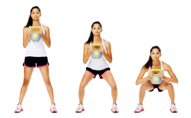 kettlebell squat and curl