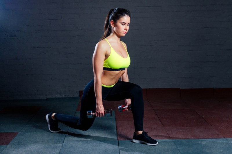 home gym workouts - dumbbell lunge