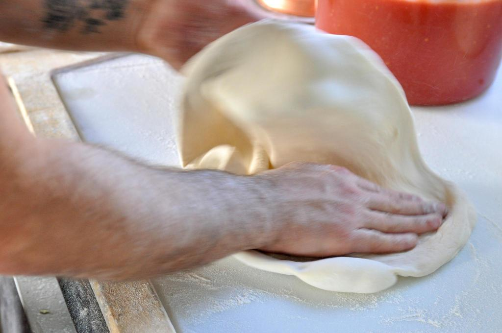 pizza dough stretching
