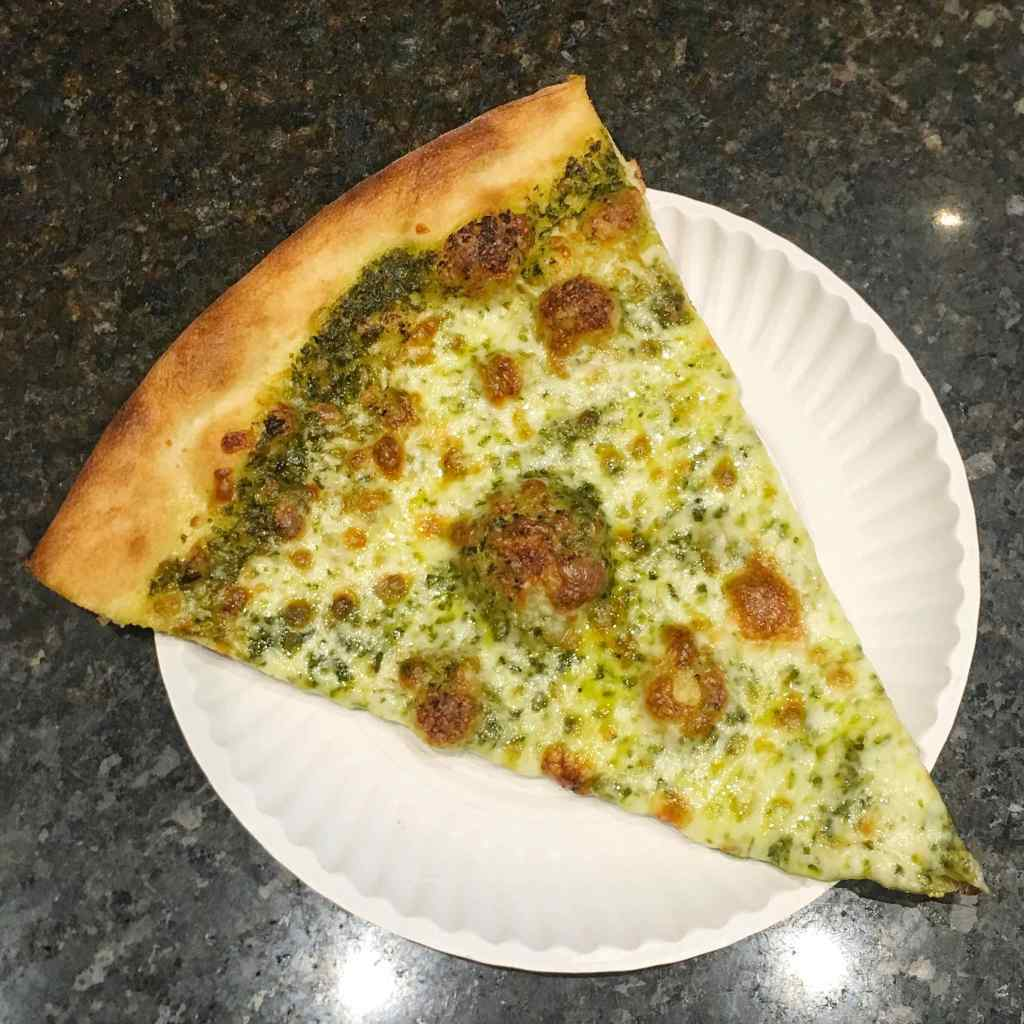 pesto pizza slice
