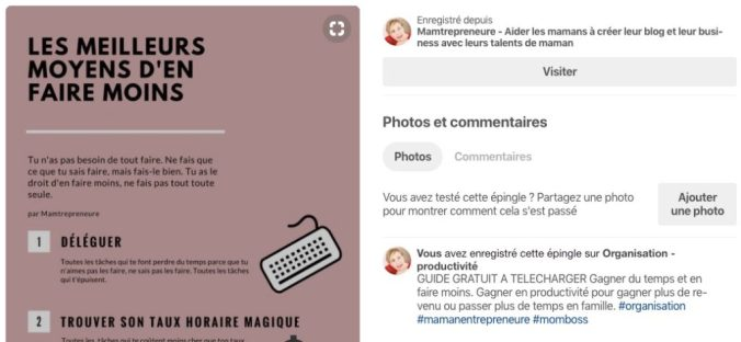 description d'une épingle pinterest