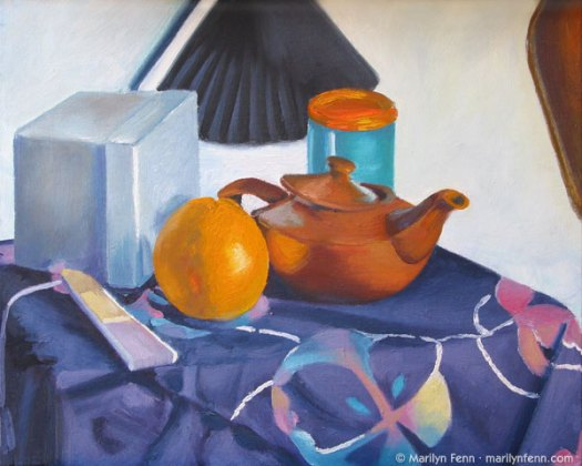 """Still Life with Teapot and Orange"" Oil on Canvas Board 11"" x 14"" © 1992 Marilyn Fenn"