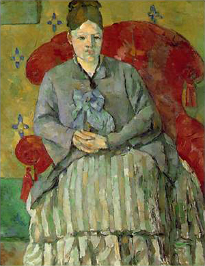 "Painting by Paul Cezanne Madame Cezanne in a Red Armchair aka ""Hortense Fiquet in a Striped Skirt"" oil on canvas 1877-78"