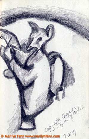 """Copy after Chagall's """"Birth"""" The Art Institute of Chicago Pencil on paper 7"""" x 5"""" © 1991 Marilyn Fenn"""