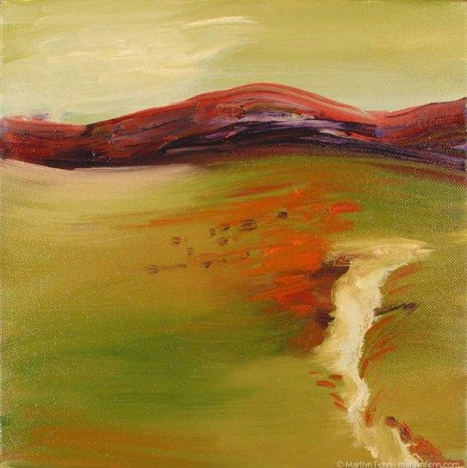 """""""Green Day"""" oil on canvas 10"""" x 10"""" © 2007 Marilyn Fenn"""