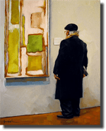 """Painting by Karin Jurick """"An older gentleman viewing an abstract painting in the de Young Museum in San Francisco"""" Oil on Masonite 8""""x10"""""""