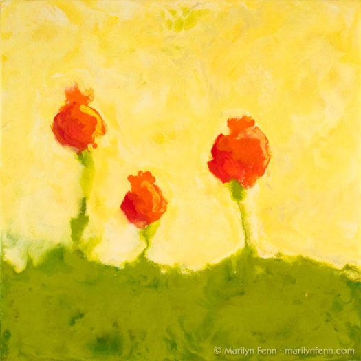 """Impression of Poppies"" Encaustic on Paper on Board, cradled 12″ x 12″ © 2007 Marilyn Fenn"