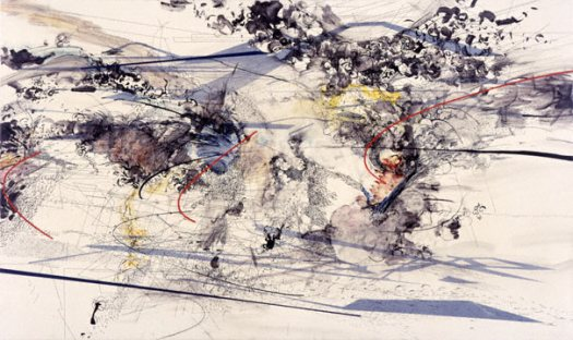 "Painting by Julia Mehretu ""Excerpt (Riot)"" 2003 ink and acrylic on canvas 32 x 54"""