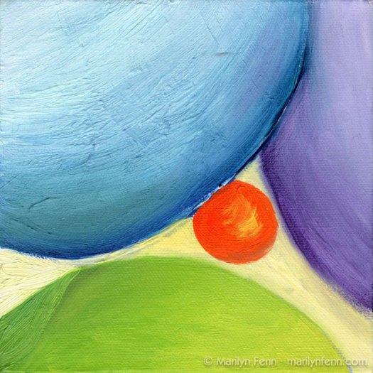 """""""Orange Crush"""" Oil on canvas 6"""" x 6"""" © 2009 Marilyn Fenn"""