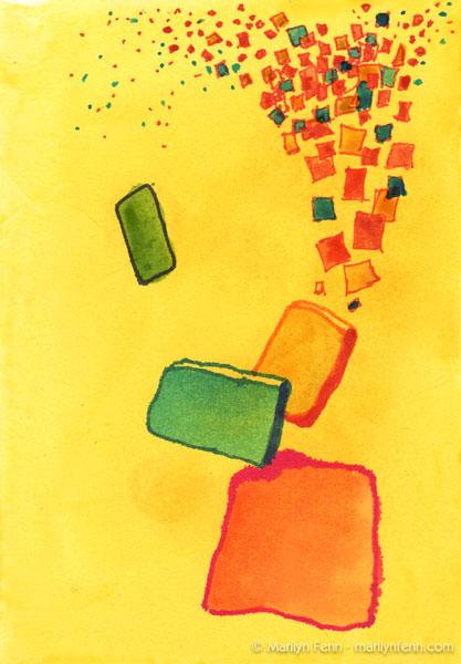 """Harmoniums 001"" Mixed media on watercolor paper 7"" x 5"" © 2011 Marilyn Fenn"