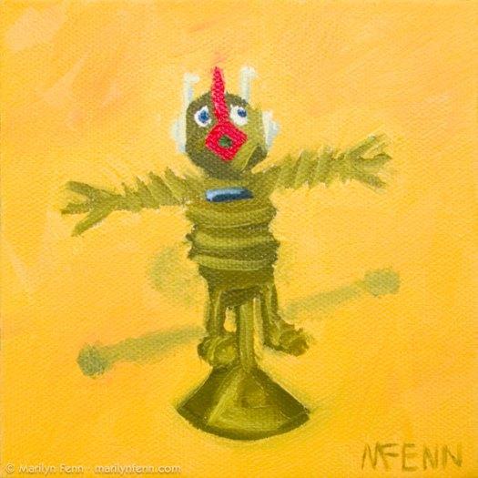 """""""It Was This Big!"""" Oil on canvas 5"""" x 5"""" © 2011 Marilyn Fenn"""