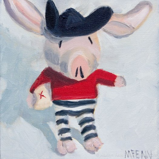 """Pirate Olivia in Search of Buried Treasure"" Oil on canvas 6"" x 6"" © 2011 Marilyn Fenn"