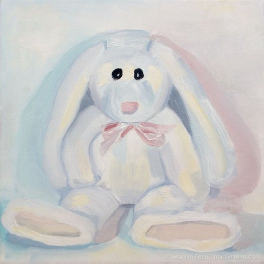 """The Woobie Contemplates Revenge"" Oil on canvas 10"" x 10"" © 2011 Marilyn Fenn"