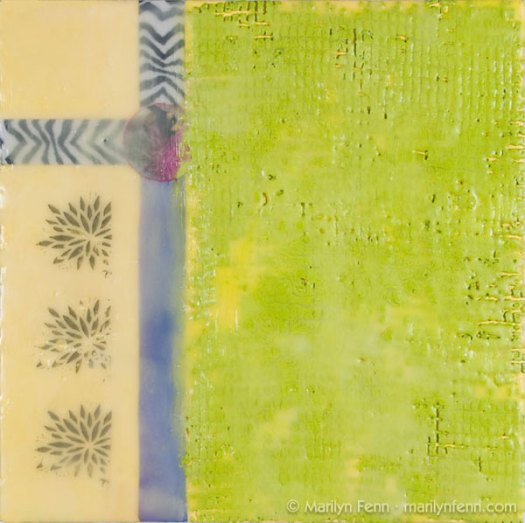 """Beezebra"" Encaustic with Collage and Image Transfer on Panel 10"" x 10"" © 2009 Marilyn Fenn"