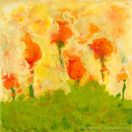 """Stoic Poppies in an Earthquake"" Encaustic and Beeswax on Paper on Board 12"" x 12"" © 2007 Marilyn Fenn"
