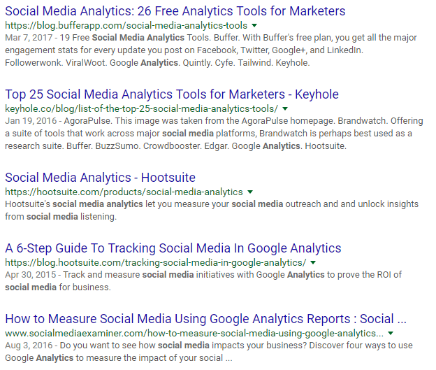 social media analytics SERP