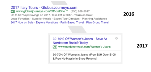 google ad changes