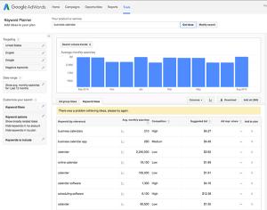 business-calendar-google-keyword-tool