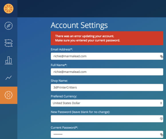 Account Settings Update Message