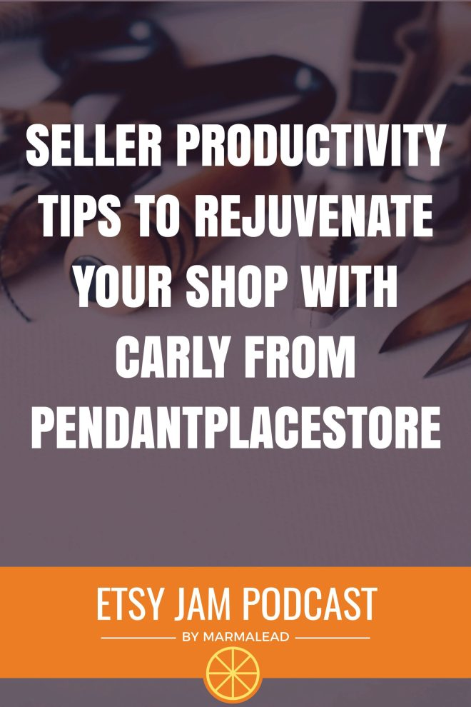 Do you have a secret technique for staying focused on your shop and keeping life's relentless onslaught of distractions from tugging you off course? In this episode, we chat with Carly from PendantPlaceStore about how she parents herself by holding herself accountable for the things she knows she needs to get done. We also talk about how she's iterated through different Etsy shops, her experiences with promoted listings, and more! Join us next week for part 2 of the conversation with Carly where she shares results from an interesting experiment she did this last holiday season!