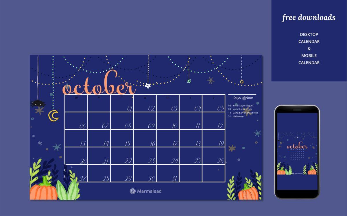 October free desktop calendar marmalead
