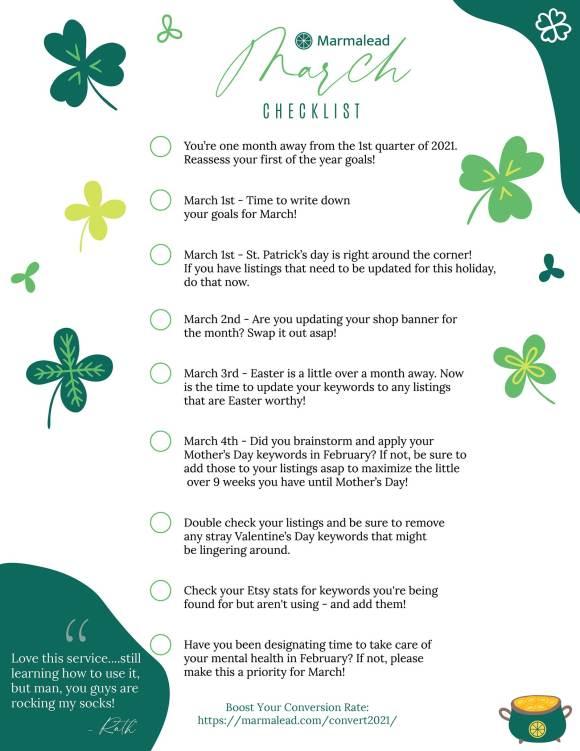 March etsy shop checklist