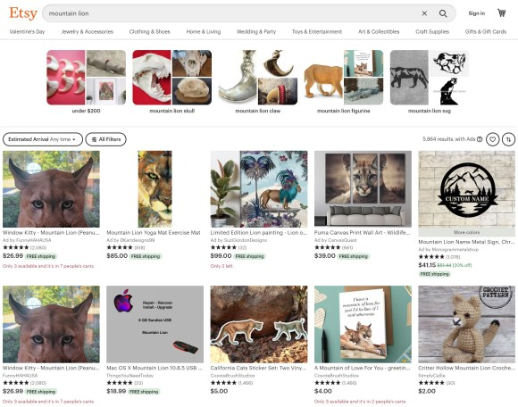Etsy search change now shows related listings when using the search feature.