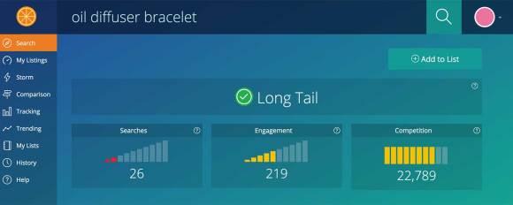 Etsy seo tool - long tail keywords with Marmalead