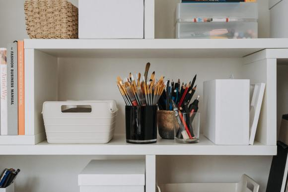 Etsy craft supplies on a shelf