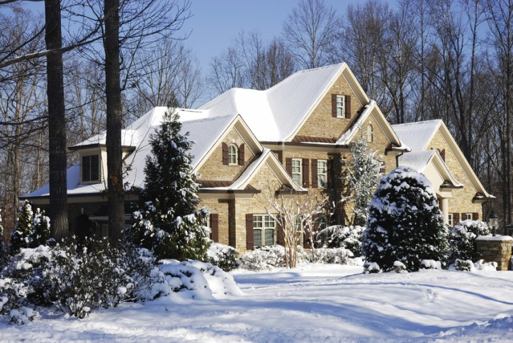 beautiful winter snowy home