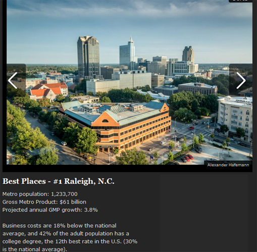 Raleigh voted Best place for new businesses and young professionals
