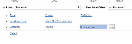 Advanced Find - Business Rule query