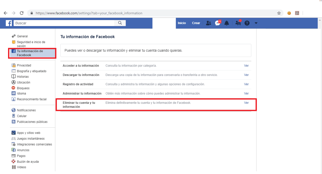 Ubica la opción para eliminar la cuenta de Facebook.