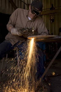 Always wear protective gear such as goggles, a face mask or gloves to ensure safety while welding.