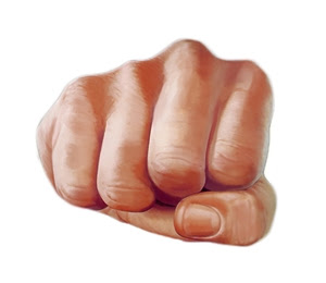 Drawing of a fist. Used to illustrate story on preventing workplace violence.