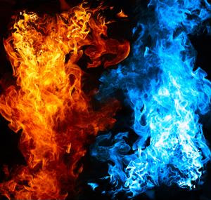 Red and blue flames signify heat and cold.