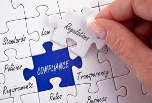 """A puzzle with pieces labeled """"regulations"""" and """"compliance."""""""