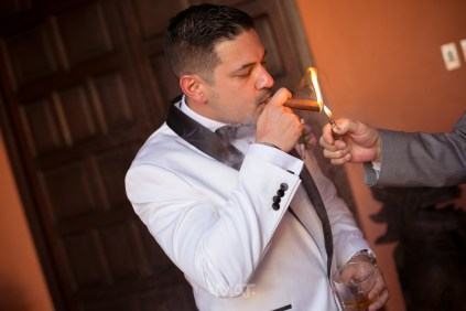 Groom Cigar wedding photography