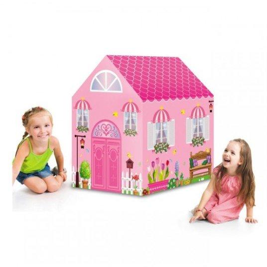 خيمة على شكل منزل باللون الوردي