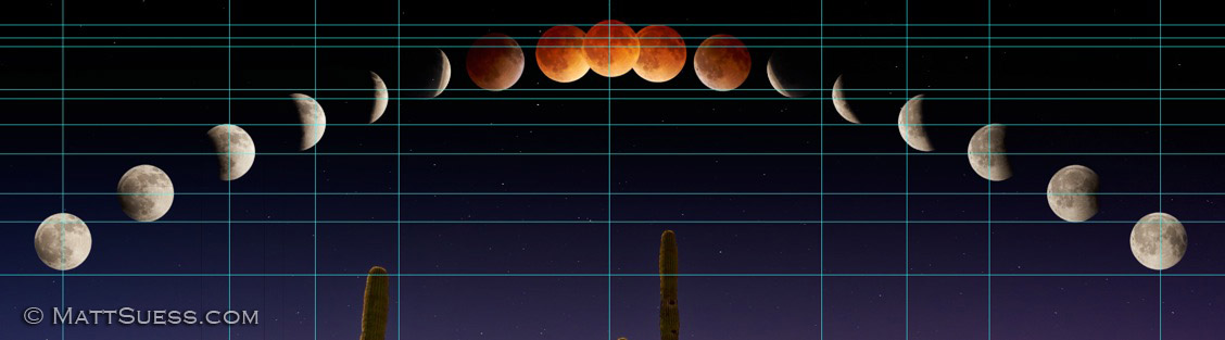I used grid lines in Photoshop to accurately place each of the moons.