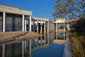 A serene colonnade at Amanzoe.