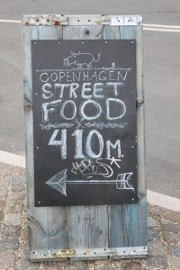 A sign for the Street Food market on Papiroen island.