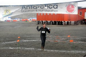 Chris Solarz finishes the February 2011 Antarctica Marathon, coming in second in 3 hours, 32 minutes.
