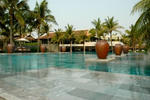 Endless tropical pools at the Nam Hai resort.