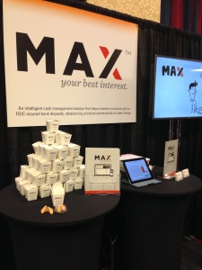 The MaxMyInterest booth at the Finovate conference in New York on September 23, 2014.