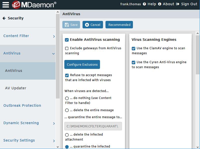 Antivirus MDaemon - Administración remota de MDaemon