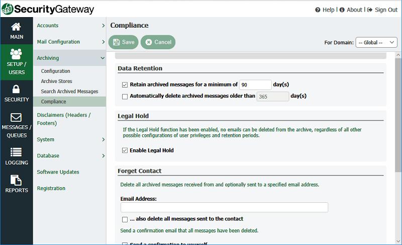 Políticas de archivo, cumplimiento, retención legal y retención de correo electrónico en Security Gateway for Email