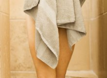 woman with bath towel with tips on simple hygiene