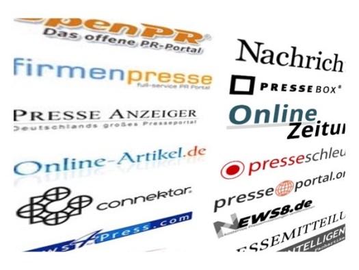 Einige Presseportale, über die Pressemitteilung versendet werden können.