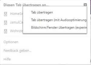 """Damit der Sound vom ganzen Computer übertragen wird,<br> muss die Option """"Bildschirm / Fenster übertragen"""" ausgewählt werden"""